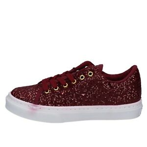 scarpe donna GUESS 37 EU sneakers bordeaux glitter BY95737