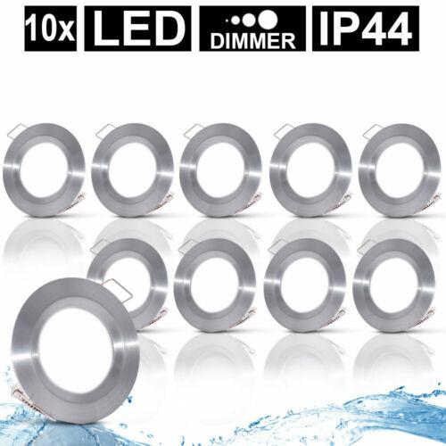10x LED Einbau Spot Decken Leuchten ALU Schlafzimmer Strahler Bad Lampen DIMMBAR