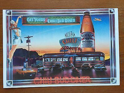 Vintage Budweiser Chilli Bud Diner Oversized Postcard
