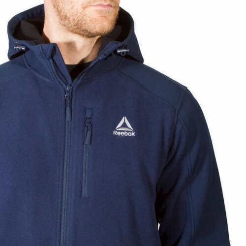Reebok Men/'s Mixed Media Softshell Jacket Hoodie Select Color /& Size