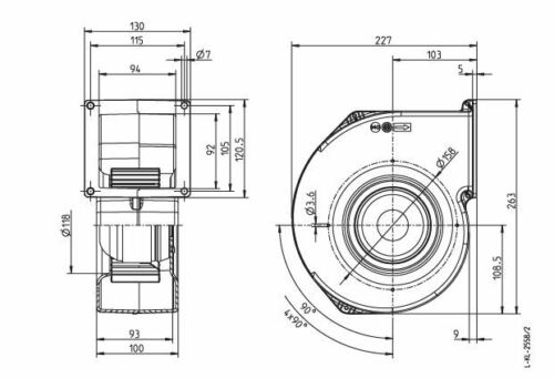Ventilador Soplador centrífugo 230 V AC 650m3//hr 160 Dia VBL 6//3 G2E160-AD G2E160-AY