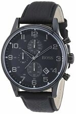 Hugo Boss HB1512567 Herrenuhr Armbanduhr Edelstahl Lederarmband schwarz Uhr