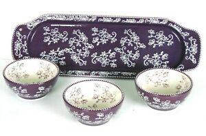 Temptations by Tara Floral Lace Chip & Dip Stoneware Tray Set Purple 4-Pc Set