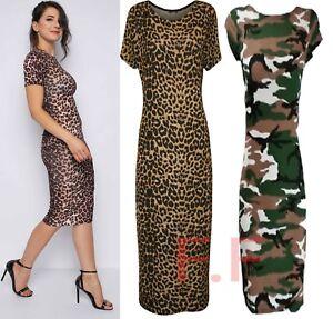 e14f14edc4ef Womens Ladies Short Sleeves Camo Army Leopard Print Stretch Bodycon ...