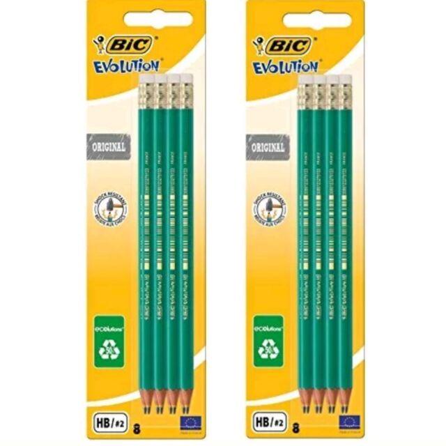 3x BIC Evolution Original HB Graphite Pencils Eraser 8 Pack Ecolutions Rubber 24