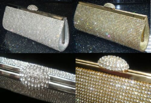 Full Crystal Diamante Silver Gold Evening Handbag Clutch Purse Party Prom Bride