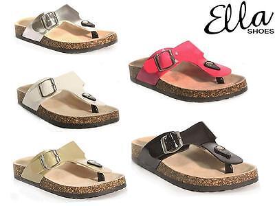 Señoras de cuero de imitación Sandalias Cuña Tacón Confort Zapatos para Caminar Playa De Verano Tamaño