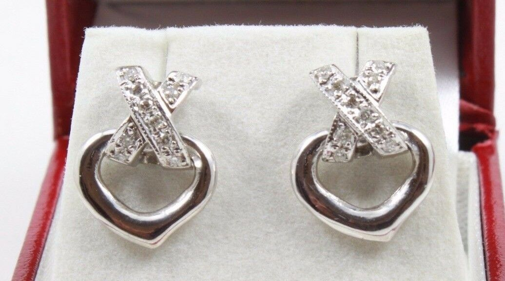 Estate Natural .25ct  Diamonds 14k White gold Heart Dangle Earrings 4.9gram