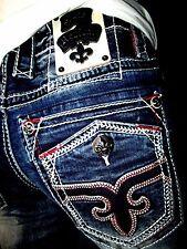 New NWT Mens Rock Revival Denim Jeans Leotis Straight Leg 38x34