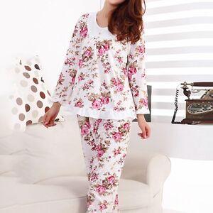 f878ae06488a HOT Lady Comfy Cotton Pajamas Floral Sleepwear Autumn Nightwear ...