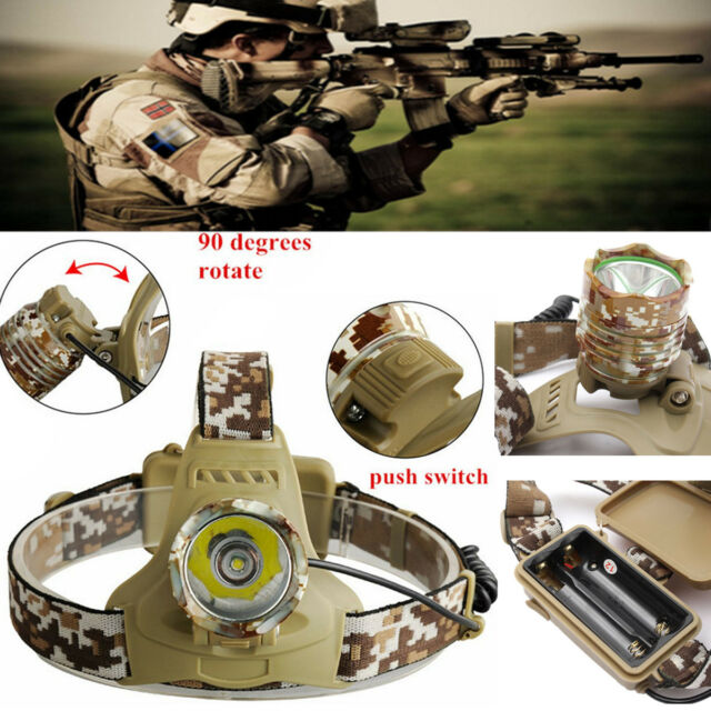 3000LM T6 LED Camouflage Rechargeable Headlight Headlamp Head Torch 18650