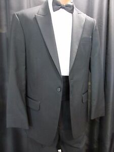 8cfdd14289d Details about Jean Yves 1 Button Peak Lapel Black 100% Wool Tuxedo Jackets  Wedding Sizes 36-50