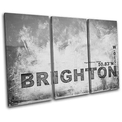 Brighton England City Typography TREBLE CANVAS WALL ART Picture Print VA