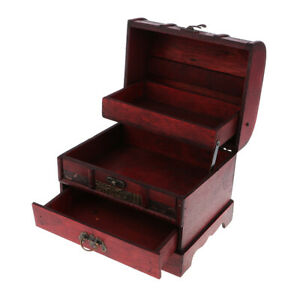 Vintage Wooden Jewelry Storage Box Treasure Chest Organizer Gifts Box 22x16cm