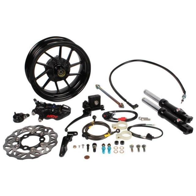 "ZOOMER RUCKUS GY6 10"" FR Rim Low Down Forks 200mm Disc Brake Kit- BLACK"
