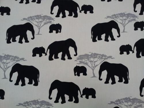 MARSON ELEPHANTS BLACK DESIGNER CURTAINS BLINDS FABRIC