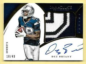Details About 2015 Immaculate Db Dez Bryant 2 Color Premium Patch On Card Autograph 18 49