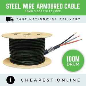 100M DRUM - 10MM 3 CORE STEEL WIRE ARMOURED CABLE GARAGE, SHED ...