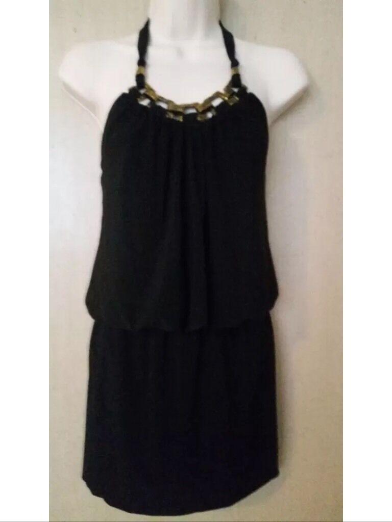 NWT Caché schwarz Short Halter Top Chain Neckline Dress Größe Xs