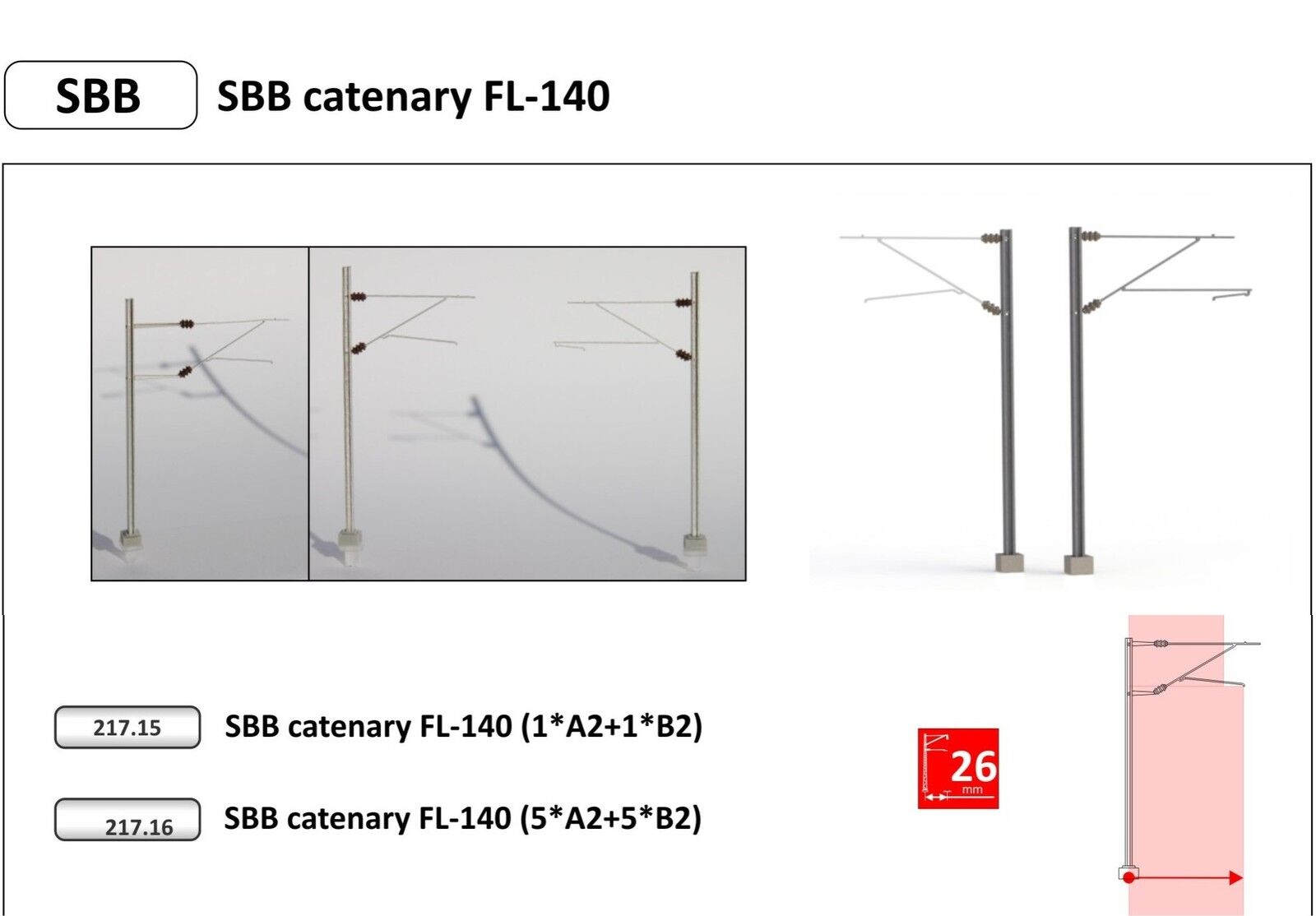 De-N-Train-ref.217.16 - SBB masts with outriggers Type fl-140 (10 pieces)