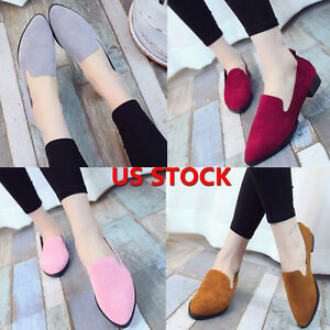 Fashion-Women-Ladies-Slip-On-Casual-Flats-Boat-Single-Shoes-Leather-Loafers-US