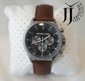 1e9828a1e2ab New Michael Kors Men s Gage Chronograph Grey Dial Brown Leather ...