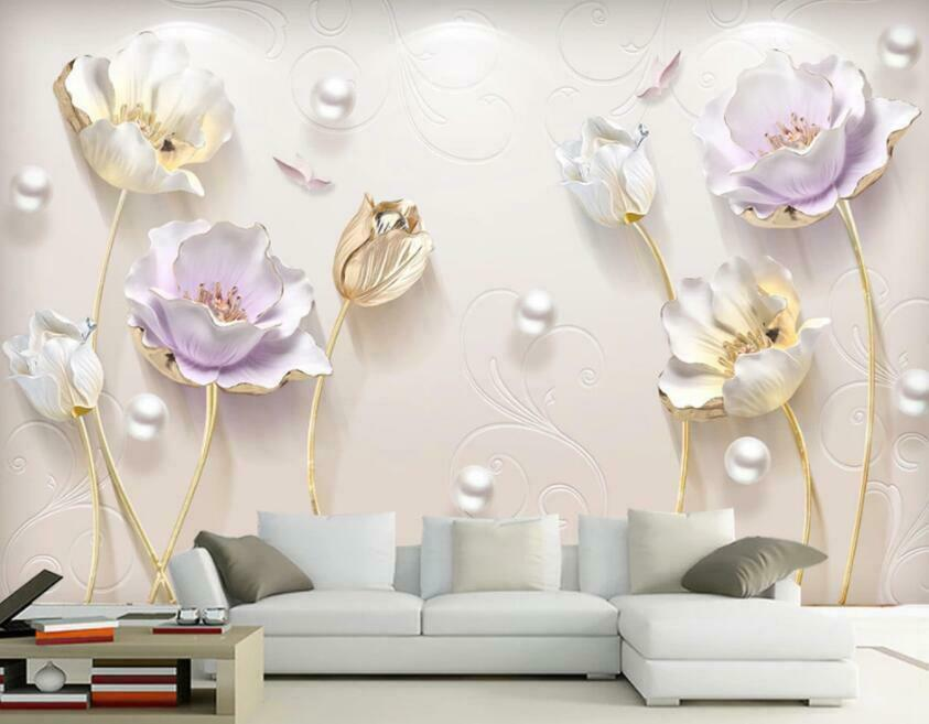 3D Flowers Pearl I1093 Wallpaper Mural Sefl-adhesive Removable Sticker Wendy