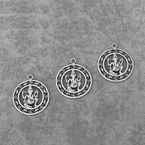 5Pcs Antique Silver Buddha Ganesha Elephant OM Yogal Symbol Charms Pendants
