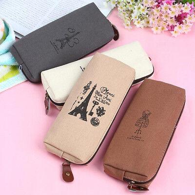 Latest Retro Canvas Pencil Pen Case Cosmetic Makeup Coin Pouch Zipper Bag Purse