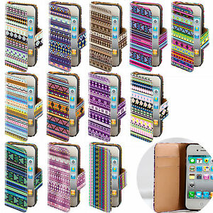 LEATHER-AZTEC-TRIBE-RETRO-TRIBAL-FLIP-WALLET-CASE-COVER-FOR-VARIOUS-MOBILE-PHONE
