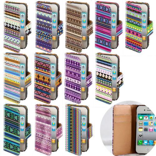 LEATHER AZTEC TRIBE RETRO TRIBAL FLIP WALLET CASE COVER FOR VARIOUS MOBILE PHONE