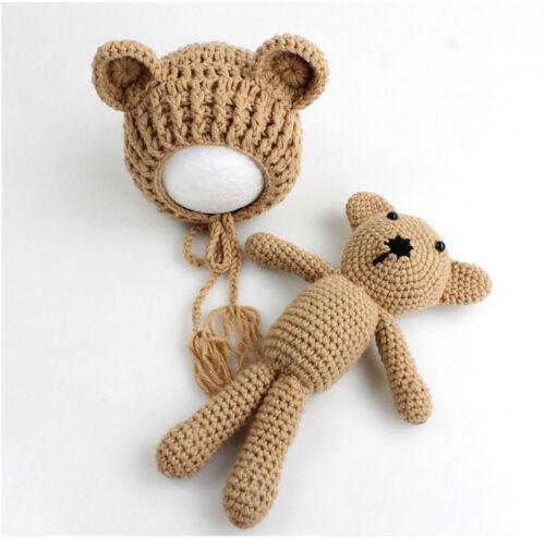Neugeborene Baby Knit Strick Fotografie Bär Kostüm Mütze+Puppe