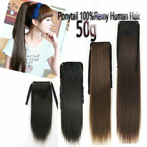 50g-16-039-039-22-039-039-Ribbon-Ponytail-One-Hairpiece-Clip-In-Real-Human-Hair-Extensions