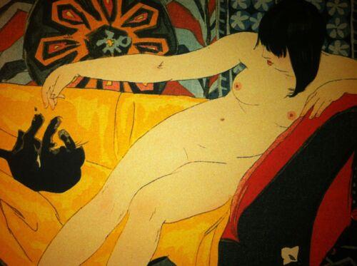 Nude Playing With Cat 15x22 Japanese Print cats Yoshida Asian Art Japan