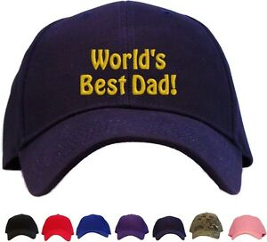 8cbe633ce Details about World's Best Dad Embroidered Baseball Cap - Available in 7  Colors - Hat father