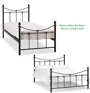 Rebecca Metal Bed Frame In Satin Black Antique Gold Single Double