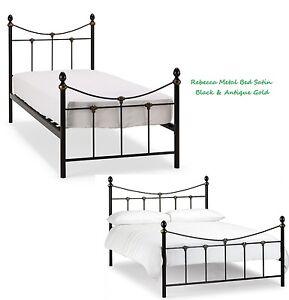 Image Is Loading Rebecca Metal Bed Frame In Satin Black Antique