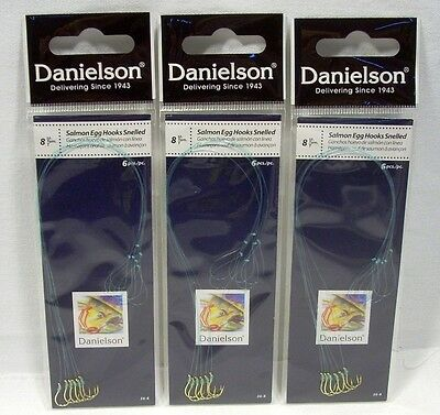 3 Packages Danielson Size 4 Snelled Baitholder Fishing Hooks Crappie Trout