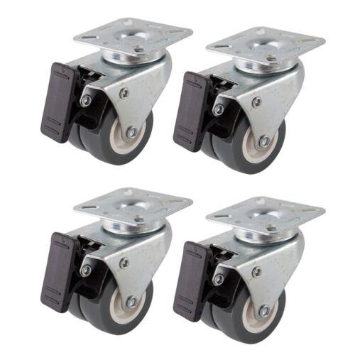 4 Pcs 2 Inch Caster Wheels Brake Casters with 360 Degree Swivel Plate Heavy Duty