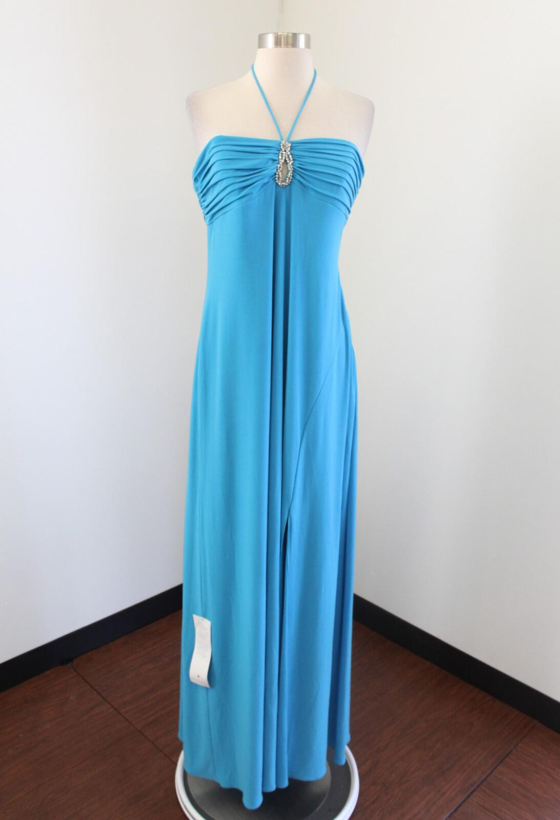 NWT Laundry by Shelli Shelli Shelli Segal bluee Beaded Halter Gown Evening Dress Formal Size L eef8f8