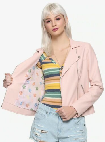 SAILOR MOON PINK FAUX LEATHER MOTO JACKET IN THE NAME OF THE MOON BOW BACK SCOUT