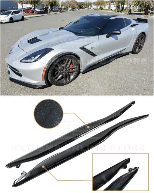 For 14-19 Corvette C7 | Z06 Style Painted CARBON Flash Side Skirts Rocker  Panels