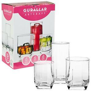 18-Pcs-Drinking-Glasses-Cups-Set-Highball-amp-Short-Whiskey-Tumblers-2-Options