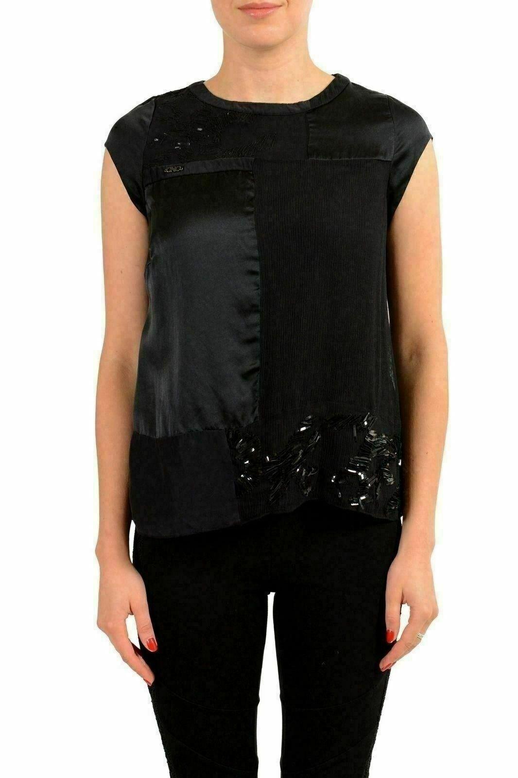 C'N'C Costume National 100% Silk schwarz Sleeveless Woherren Blouse Top US XS IT 38