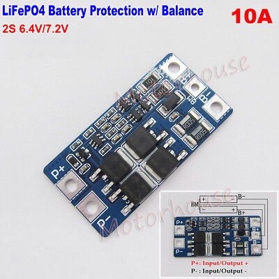2S 10A 6.4V 7.2V w// Balance 18650 LiFePO4 Battery BMS Charger Protection Board