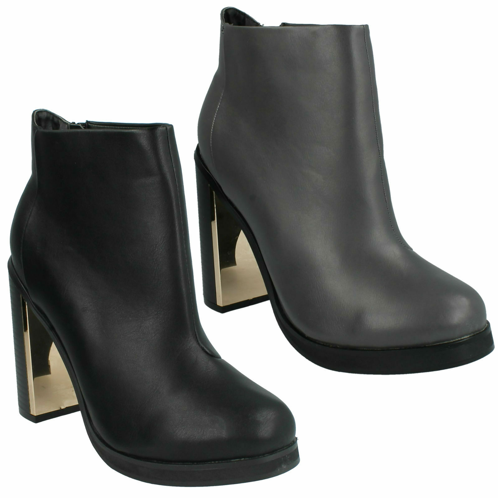 6efedef74fc6a F50428 LADIES SPOT ON HIGH HEEL ZIP UP SHOES CASUAL TROUSER ANKLE BOOTS SIZE