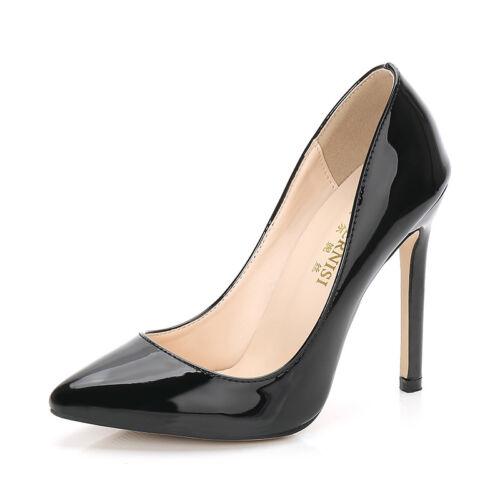 Men/'s High Heels Cross dresser Pumps Drag Queen Black Patent Leather Large Shoes