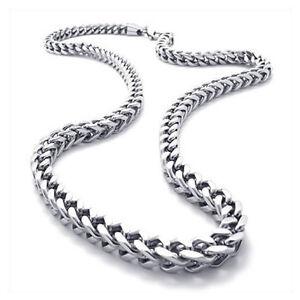 Schmuck-Herren-Kette-Edelstahl-Biker-Koenigskette-Halskette-Silber-Breit-L6T8