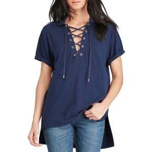 New-Polo-Ralph-Lauren-Golf-Blue-Boyfriend-Mesh-Lace-Up-T-shirt-Top-Tee-XS-S-M-L