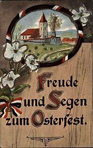 Frohe-Ostern-Happy-Easter-1910-Freude-amp-Segen-Dorfmotiv-Patriotik-Schleifen